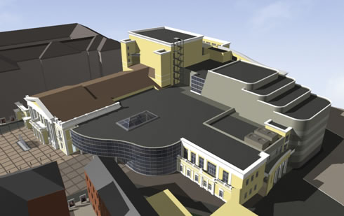 Modell des Komplexes, rechts Orgelsaal / model of the complex, right organ hall