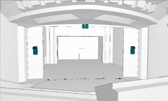 gerenderte Ansicht vom Saal / rendered view into the hall