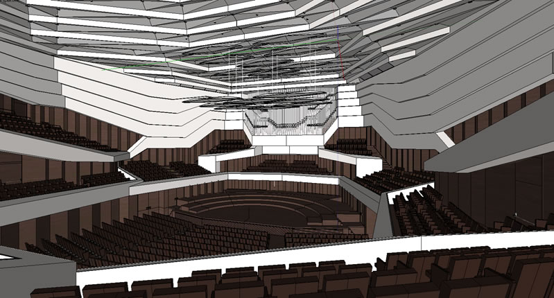Blick zum Podium im SketchUp des Saales / View to the stage in the SketchUp model of the hall