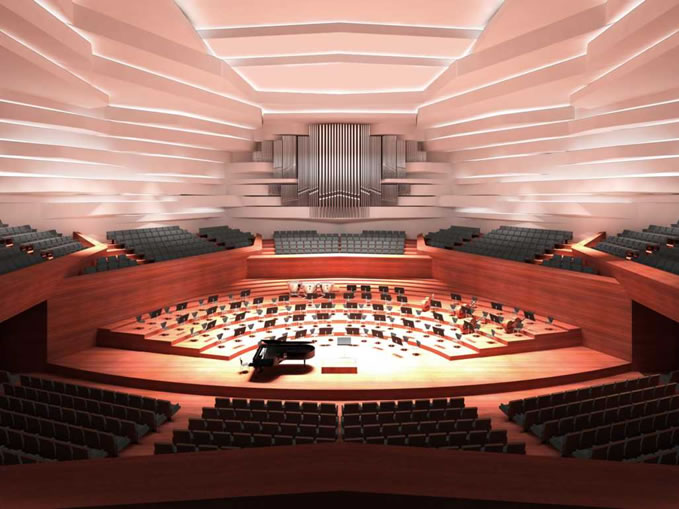 Rendering des Saals in Wettbewerbsphase / Rendering of the hall in competition phase