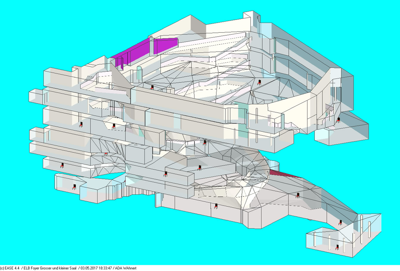 Rendermodell des Foyerbereiches / Rendered model of the lobby levels
