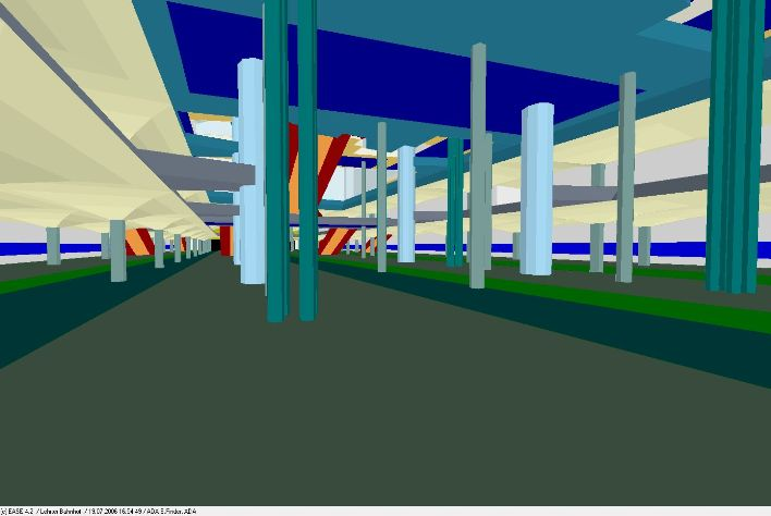 Blick in das Simulationsmodell, untere Bahnsteige / view in simulation model, lower platform level