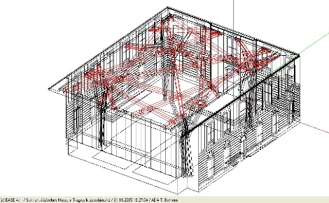 EASE-Modell, Drahtgitter-Darstellung mit rot markiertem absorbierenden Dachstrebenwerk / EASE-Model, wire frame view with highlighted absorptive ceilings beams