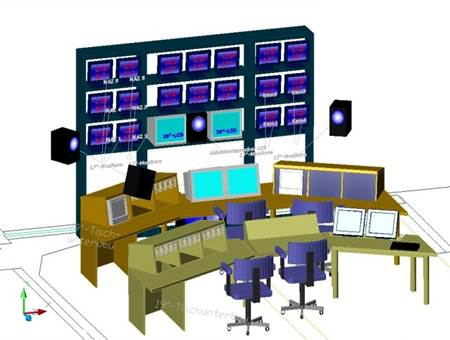 3D Entwurf der Bild- und Tonregie für Videostudio / 3D Design for the Image and sound control room